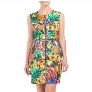 Milly tropical leaf print sleeveless dress…